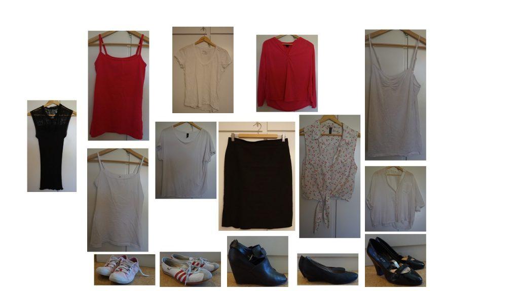 kjolen, svart, vitt, rosa och skor